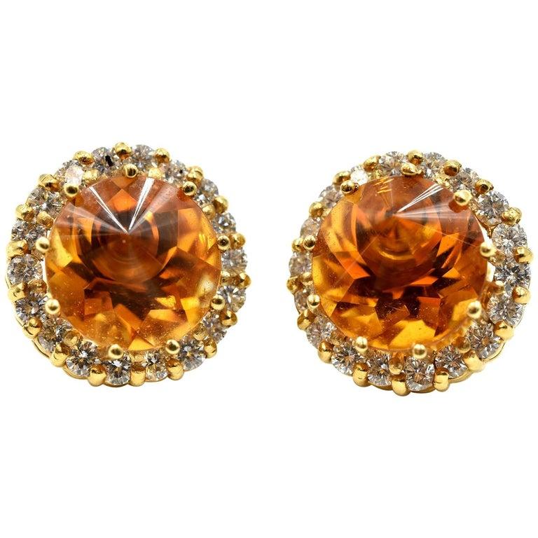 18 Karat Gold, 4.00 Carat Fantasy Cut Citrine with Round Diamond Halo Earrings For Sale