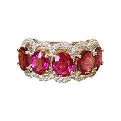 18 Karat Gold, 4.03 Carats Rubellite and Diamonds Band Ring