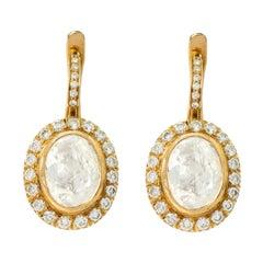 18 Karat Gold 4.03 Carats Solitaire Diamond Drop Earrings in Victorian Style