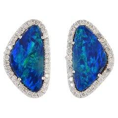 18 Karat Gold 4.04 Carat Opal Diamond Stud Earrings