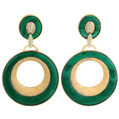 18 Karat Gold 41.3 Carat Malachite Diamond Earrings