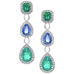 5.4 Carat Emerald and 3.93 Carat Blue Sapphire Diamond Earrings in 18K Gold