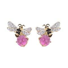 18 Karat Gold 5.5 Karat Pink Tourmaline 0.16 Karat Diamonds Bees Stud Earrings