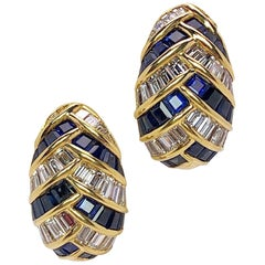 18 Karat Gold, 5.52 Carat Baguette Diamonds and 7.36 Carat Sapphires Earrings
