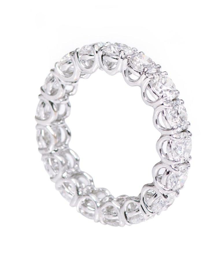 Brilliant Cut 18 Karat Gold 5.79 Carats GIA Certified Brilliant-Cut Diamond Eternity Band Ring For Sale