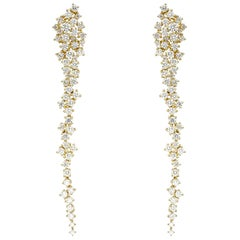18 Karat Gold, 6.6 Carat, F Color, VS Clarity, Dainty Diamond Earrings