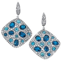 18 Karat Gold, 6.68 Carat Grey Diamond & 10.48 Carat Blue Topaz Hanging Earrings