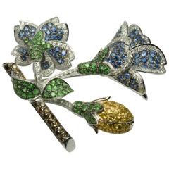 18 Karat Gold 7.25 Total Carat Diamond Flower Brooch with Natural Color Stones