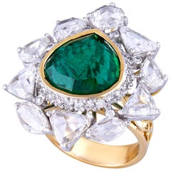 7.28 Carat Zambian Emerald Diamond Rose Cut Diamond 18k Gold Cocktail Ring