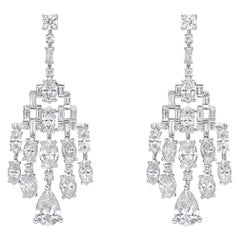 18 Karat Gold, 7.46 Carat, F Color, VS Clarity, Diamond Paved Earrings