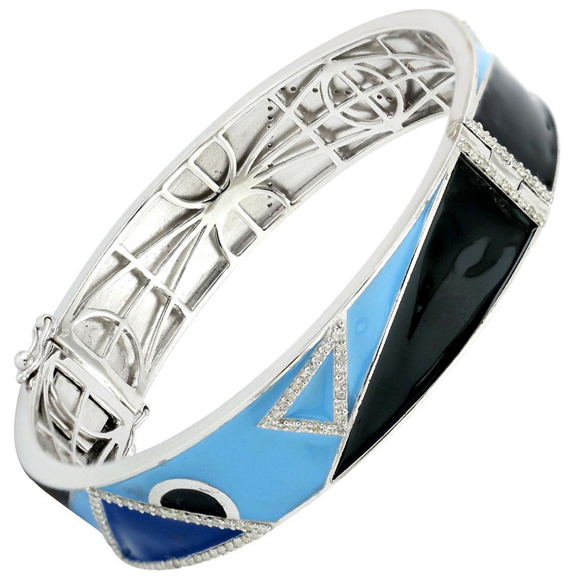 18 Karat Gold .925 Sterling Silver Diamond Pave Enamel Cuff Bangle Bracelet