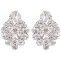 18 Karat White Gold 9.95 Carat Rose Cut Diamond Cluster Earrings Studs