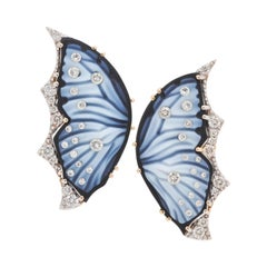 18 Karat Gold Agate Butterfly Carving Diamond Contemporary Stud Ear-Clips