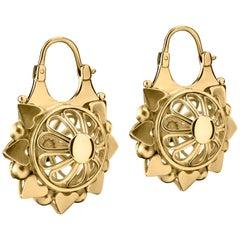 18 Karat Gold Ajoure Basket Earrings