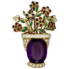 18 Karat Gold Amethyst and Diamond Brooch