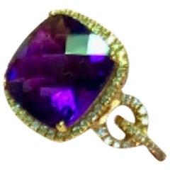 18 Karat Gold Amethyst and Diamonds Italian ring