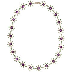 18 Karat Gold Amethyst and Emerald Necklace