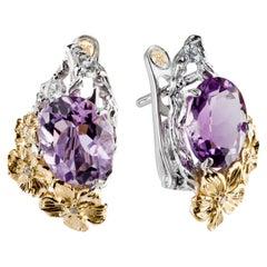 18 Karat Gold Amethyst Diamond Floral Earrings