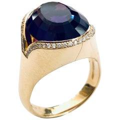 "18 Karat Gold Amethyst-Diamond Ring E.Schmidt Detmold 'D' 1965 ""Handarbeit"""