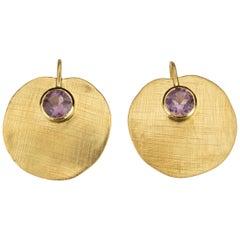 18 Karat Gold Amethyst Lotus Earrings