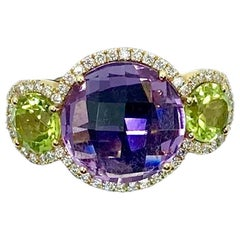 18 Karat Gold Amethyst, Peridots and Diamonds Ring