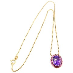 18 Karat Gold Amethyst Pink Sapphire Halo Pendant & Faceted Ball Chain Necklace