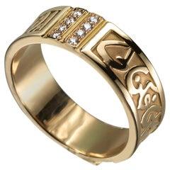 18 Karat Gold and 0.10 Carat Diamond Circles of Eternity Band Ring