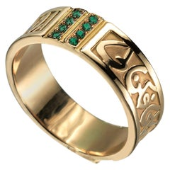 18 Karat Gold and 0.15 Carat Emerald Circles of Eternity Band Ring
