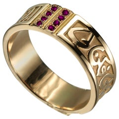 18 Karat Gold and 0.18 Carat Ruby Circles of Eternity Band Ring