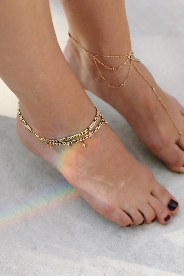 Rock Star Anklet by Alessa Jewelry  Diamonds: Cognac 0.46 ctw  Metal: 18K Yellow Gold  Collection: Paradise  Alessa Jewelry is handcrafted accordingly to international standards, using precious metals, natural diamonds and gemstones. Our colorless