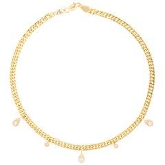 18 Karat Gold and 0.46 Carat Cognac Diamond Rock Star Anklet by Alessa Jewelry