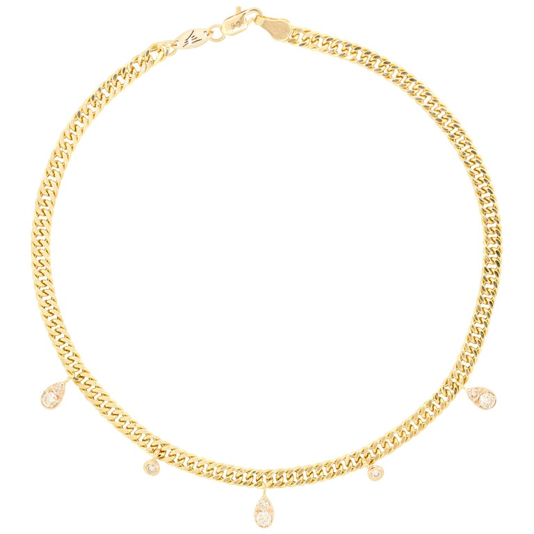 18 Karat Gold and 0.46 Carat Cognac Diamond Rock Star Anklet by Alessa Jewelry For Sale