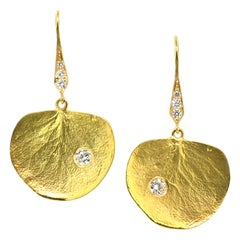 18 Karat Gold and 0.54 Carat Diamond Eucalyptus Leaf Earrings by Dan Peligrad