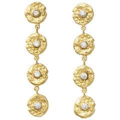 "18 Karat Gold and 0.60 Carat Diamond ""Seaquin"" Dangle Earrings"
