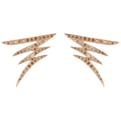 18 Karat Gold and 0.61 Carat Cognac Diamonds Signature Pave Earrings, Alessa