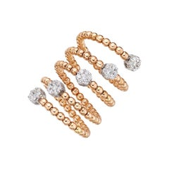 18 Karat Gold and 0.62 Carat, F Color, VS Clarity, Diamond Spiral Bubble Ring