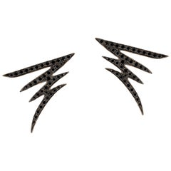 18 Karat Gold and 0.70 Carat Black Diamonds Signature Pave Earrings, Alessa