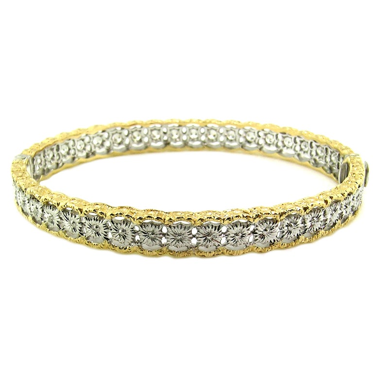 Women's 18 Karat Gold and 1.00 Carat Diamond Hand Engraved Bangle, Handmade in Italy For Sale