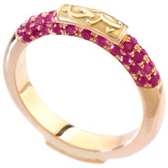 """18 Karat Gold and 1.00 Carat Pave-Set Ruby Limited """"Happiness"""" Band Ring"""
