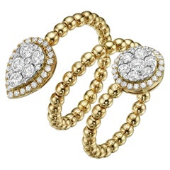 18 Karat Gold and 1.02 Carat, F Color, VS Clarity, Diamond Spiral Bubble Ring