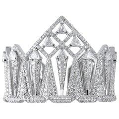 18 Karat Gold and 11.80 Carat White Diamond Arrow Bracelet by Alessa Jewelry