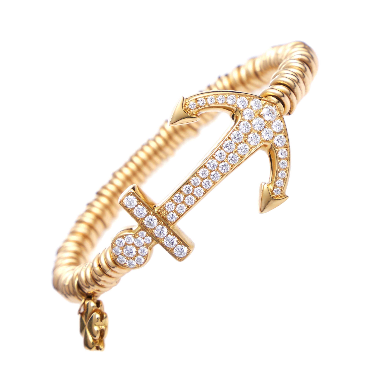 Anchor Bracelet 18 Karat Gold and 1.30 Carat Diamonds