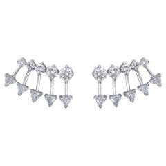 18 Karat Gold and 2.01 Carat Colorless Diamond Spear Earrings by Alessa Jewelry