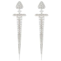 18 Karat Gold and 2.23 Carat Colorless Diamonds Sword Earrings by Alessa Jewelry