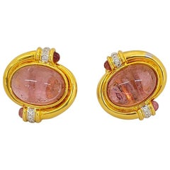 18 Karat Gold and 25.80 Carat Pink Tourmaline Earrings with Diamond Accents