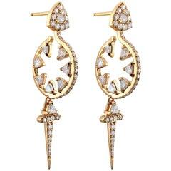 18 Karat Gold and 2.64 Carat Colorless Diamonds Sword Hoop Earrings by Alessa