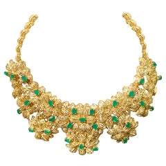 18 Karat Gold and 28 Navette Emerald Vintage Necklace