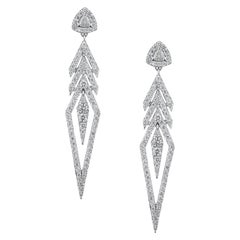 18 Karat Gold and 2.92 Carat Colorless Diamond Arrow Earrings by Alessa Jewelry