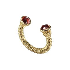 18 Karat Gold and 3.50 Carat Garnet Limited Lotus Coil Ring