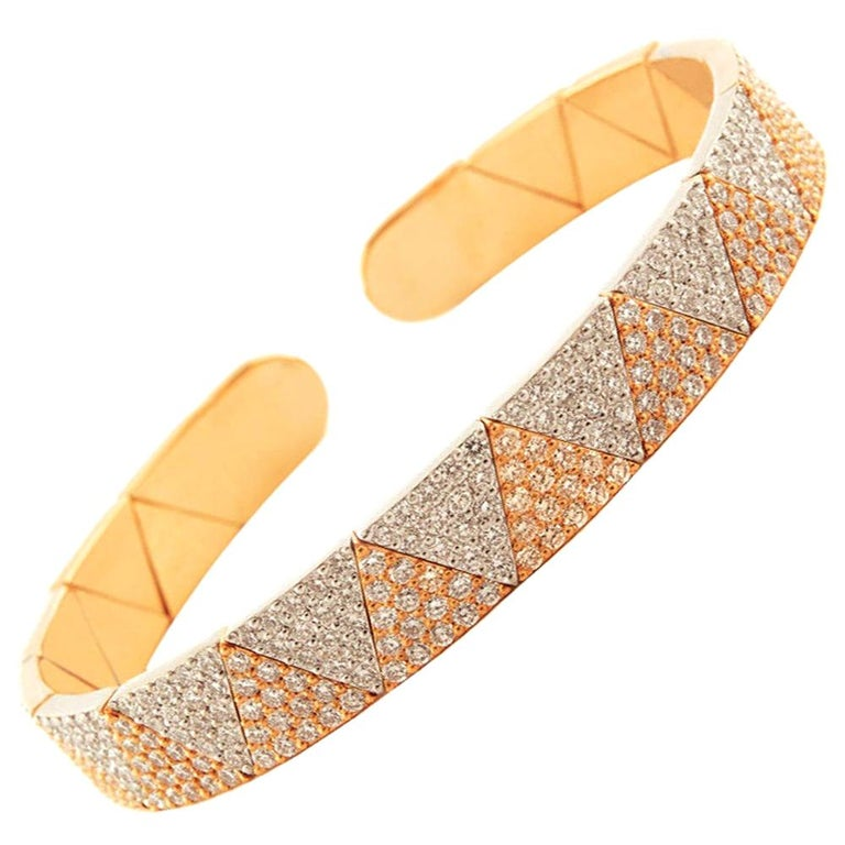 18 Karat Gold and 4.47 Carat White Diamond Element Bracelet by Alessa Jewelry